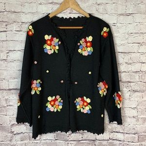Vintage Wool Cardigan with hand embroidery